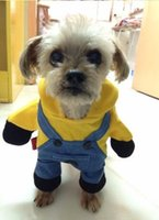 Wholesale Female Funny Costumes - Funny Minions Dog Clothes Halloween Pet Costume Suit Cartoon Puppy Cat Coat Jacket Despicable Me 2 Soft Cotton Hoodie