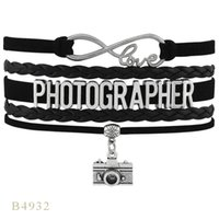 Wholesale Camera Charms For Bracelets - (10 Pieces Lot) Infinity Love Photography Camera Charm Bracelet For Women Men Gifts Suede Leather Wrap Bracelet Any Theme