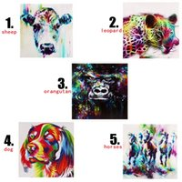 Wholesale Sheep Wall Decor - Colourful Animals Dog Sheep Leopard horses Unframed Wall Art Oil Painting On Canvas Abstract Paintings Picture Decor Living Room Decor