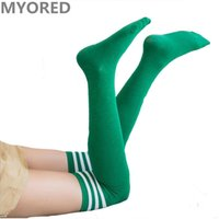Wholesale Colored Cotton Socks Women - stripes red green colored girls sexy stockings over the knee thigh high summer soccer sports football dancing long stocking sock 40pair DHL