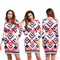 Wholesale Modest Wholesale - autumn modest fashion collection hot new printed chic style 3 4 sleeve mini shift dresses for pretty women