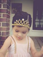 Wholesale Sparkle Elastic Headband - Baby Headbands Princess Tiara Headband Gold Silver Color Girls Kids Crown Sparkle Elastic Hairbands Rhinestone Pearl Luxury Headwear KHA159
