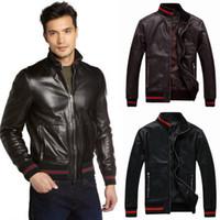 Wholesale Fur Cuffs - Motocycle Leather Jacket Men Hem Rib Cuff Trim Fit Short Style Biker Leather Outer Wear Zip Through Up