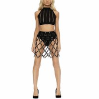 Wholesale Sexy Harness Dress - Sexy Cool Street Caged Weave Round Plaid Shaping Shaper Leather Harness Body Bondage Skirts Chain Dress