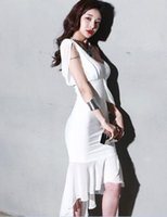 Wholesale Sexy Korean Club Dresses - The 2017 New South Korean Ladies Fashion Dress fishtail stitching in the long dress