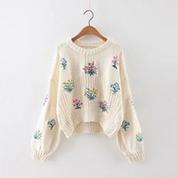 Wholesale flower applique sweater - Wholesale- Women Spring Floral Appliques Retro Cotton Blend Embroidered patchwork Loose knitwear pullovers Sweater Flowers Short Knitting