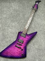 Wholesale Guitar Satin - HOT wholesale High Quality EMG pick-up Explorer Custom purple color Satin electric guitar music instruments