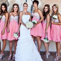 Wholesale Factory Maid - Sweetheart Empire Chiffon Short Bridesmaid Dresses Wedding Guest Dresses Pink Maid of Honor Dresses Factory Custom Made