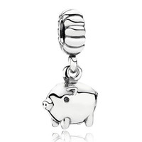 Wholesale Chinese Silver Bangles - Authentic 925 Sterling Silver Bead Charm Cute Chinese Pig Dngle Pendant Beads Fit Women Pandora Bracelet Bangle Diy Jewelry HKA3488
