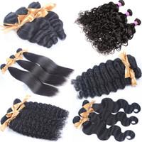 малайзийские распущенные наращивания волос оптовых-Надувные вьющиеся необработанные девственницы индийские бразильские перуанские малайзийские пучки свободных волн необработанные человеческие волосы ткут воду странные прямые расширения
