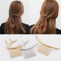Wholesale Updo Hair Accessories - Elastic Hair Band Accessories Hairpin Creative Updo Metal Headpiece Fashion Hair Combs Gold Silver Elk Antlers Retro Arc Comb for Women