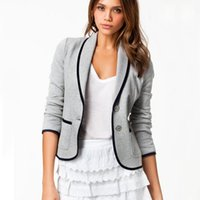 Wholesale Three Quarter Female Suit - Wholesale- 2016 Europe and America Style Spring Casual New Women Three Quarter Suit Sleeve Jacket Female Short Office Coat ST085
