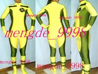 ingrosso costume spandex rogue-Sexy Rogue X-Men Body Suit Giallo / Verde scuro Lycra Spandex Rogue Catsuit Costumi Unisex X-Men Costumi Rogue Halloween Cosplay Suit M175