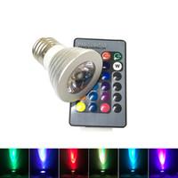 ligar controle de iluminação venda por atacado-Lâmpada RGB LED 16 Mudança Da Cor 3 W Holofotes CONDUZIU a lâmpada de Luz CONDUZIDA RGB E27 GU10 E14 MR16 GU5.3 com 24 Chave de Controle Remoto 85-265 V 12 V