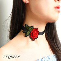 Wholesale Girl Tattoo Flowers - Fashion Charming Girls Embroidered Rose Tattoo Black Ribbon Choker Collar Collapse Gift Necklace Mixed Wholesale On Behalf Of The Delivery