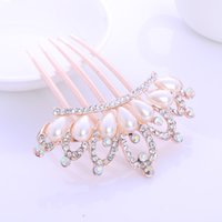 Wholesale Wholesale Peacock Flower Clip - Hot Selling crystal imitation pearl tuck flower peacock butterfly comb bride Hairpin Hair Clip Headwear Barrettes Accessories GL-YH044-2