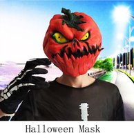 Wholesale Selling Party Mask New Wedding - Pumpkin Face Masks Halloween Mask Hot Selling Realistic Full Head Carnival Mask Celebrations Party Adul 2017 New Gift Toys