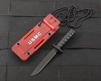 Wholesale Neck Knifes - Mini Kabar Tactical Neck Knife Colorful Pocket Fruit Knife Outdoor Camping Survival Self-defense Portable key chain faca EDC