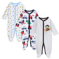 Wholesale Cars Clothes Long Sleeve - Baby Girl Boys Romper 3PCS Set Long Sleeve Cotton Good Quatity Animal Star Car Pattern Children Clothing