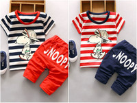 Wholesale dog piece - 2Pcs Baby Boy Girls Cotton Dog T-shirt Hooded Pants Toddler Clothes Set Outfits