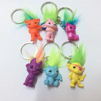 Wholesale Plastic Animal Figures Set - 6pcs Set Trolls Key Rings Cute Mini PVC Trolls Action Figures Toys & Gifts For Kids Birthday Xmas Gift
