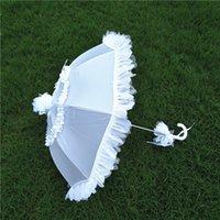 Wholesale Umbrella Machines - White Wedding Parasols lace Bridal Umbrella Studio Photography Props Theme Photo Macrame Half Hand and Half Machine