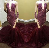 Wholesale vintage boat lights - Burgundy Lace Long Sleeves Prom Dresses 2017 Sheer See Through Beaded Crystals Boat Neck Court Train Long Mermaid Party Dress