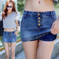 Wholesale Ladies Jeans Short Skirt - Best gift Denim shorts ladies summer pants skirt Slim was thin waist skirt JW011 Women's Jeans
