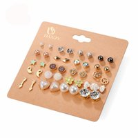 Wholesale Earings Punk Style - 20 Pairs lot Punk Fashion Stud Earrings Set For Women Elegant Mixed Crystal Flower Bow metal Ball Earings Jewelry 5 Styles