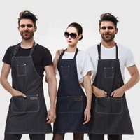 Wholesale Personalized Aprons - 2017 new Leather Strap Custom Denim Apron for Barbershop Hairdresser Kitchen Men Personalized barbershop coffee Apron
