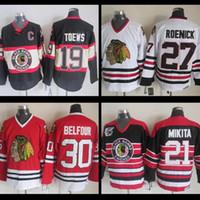Wholesale Belfour Jersey - Chicago Blackhawks cheap stitched #19 Jonathan Toews 21 Stan Mikita 27 Jeremy Roenick #30 Ed Belfour Throwback Jersey Ice Hockey Jerseys