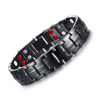 Barato Germanium Pulseiras Magnéticas Homens-22.2cm Double Row Black Men Saúde Germanium Infrared Negativo Ion Pulseira Magnética Stainless Steel Bracelets For Man Refined Gift B811S