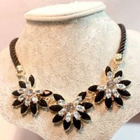 Wholesale Woven Necklace For Sale - Brilliant Weave Flower Decoration Choker Necklace For Women Hot Sale Rhinestone Wedding Jewelry Rope Necklace Collares