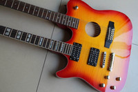 Wholesale Double Neck Guitar Sunburst - Free shippingRare double neck acouctic electric guitar 12 strings with 6 strings in sunburst in Left handed 120326