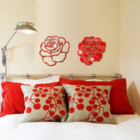 Wholesale Large Rose Wall Decal - Romantc Rose Flowers Arcylic Mirror Wall Stickers DIY Art Decal Removeable Wallpaper Mural Sticker for Living Room Bedroom Z135 5 colors