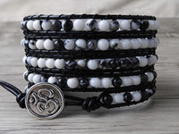 black jasper wrapped - Leather wraps bracelet zebra jasper beads bracelet Mens wrap bracelet boho Yoga Jewelry holiday gift SL