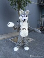 Wholesale wolf mascot custom - grey wolf mascot costumes circus christmas Halloween Outfit Fancy Dress Suit Free Shipping real picture