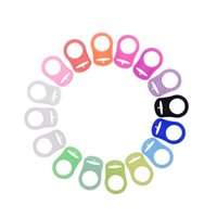 Wholesale Wholesale Mam Pacifier - Colorful Silicone Pacifier Adapter Rings For Button Style Baby Pacifier Ribbon Clips Mam Rings Dummy Pacifier Holder Wholesale 2110122