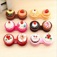 Wholesale Double Cake Box - Cartoon Cute Cream Cake Glasses Double Contact Lenses Box Contact Lens Case For Eyes Care Kit Holder Container Gift 6 color