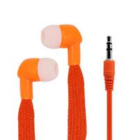 Wholesale cool ear headphones - Colorful 3.5mm Fabric Shoelace Stereo Earphone Headphone Plastic In-ear Earphone Clear Sound Earbuds Cool Design