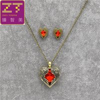 Conjuntos De Jóias Para Mulheres Red Rhinestone Retro Wings Peach Heart Pendant Necklace / earrings For Women Jewelry Sets Wholesale