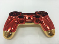 набор игровых приставок оптовых-Новый для Iron Man Версия для Playstation PS4 Контроллер Корпус Корпус Крышка Красный Передняя панель + Золотая задняя панель с полным набором кнопок