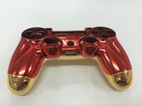 набор игровых приставок оптовых-Новое для версии Iron Man для Playstation PS4 Корпус корпуса Корпус Корпус Корпус Red Front + Gold Back Shell с кнопками Full Set