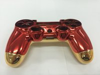 Wholesale Playstation Red - New for Iron Man Version for Playstation PS4 Controller Housing Shell Case Cover Red Front+Gold Back Shell With Full Set Buttons