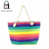 Wholesale Tote Bags Stripped - Wholesale-2016 Fashion Bohemia Women's Canvas Handbag Beach Bag Colorful Rainbow Strip Shopping Bags Big Tote Bags Travel Shoulder Bags