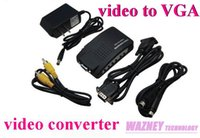 50PCS / LOT * video konverter video zu VGA Adapter AV S-Video RCA Composite Video zu PC Laptop VGA TV Konverter Adapter Box (TV-PC)