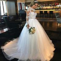 Wholesale Wedding Gown China Online - Long Sleeves Ball Gown Wedding Dresses 2017 Elegant Appliqued Tulle Sheer Shop Online China Bridal Gowns Vestido De Noiva Manga Longa