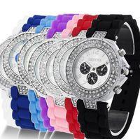 relógios de borracha venda por atacado-100 pcs Unisex das mulheres 3 olhos genebra duplo diamante relógio de geléia de pedra de pedra de silicone relógios de cristal DHL frete grátis