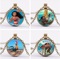 Wholesale Chains For Bronze Necklaces - 20Pcs Lot Moana Neckalce Silver Bronze Moana Maui Heihei Glass Cabochon Necklaces time Gemstone Pendants for women Children Jewelry