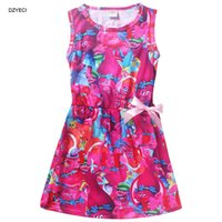 Wholesale Cartoon Character Costume Princess - Troll Costume Girl Bow Dresses Clothes Summer Christmas New Year Children Sleeveless Vest Print Cartoon Princess Dress Clothes